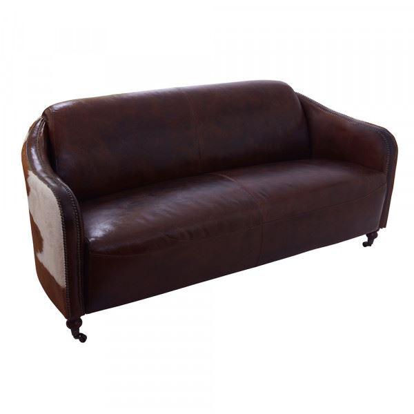 Clubsofa Flair 3-Sitzer Leder Vintage-Cigar Kuhfell braun-weiß