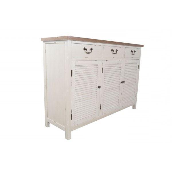 Kommode Bretagne XL Türen Holz Vintage Look creme weiß