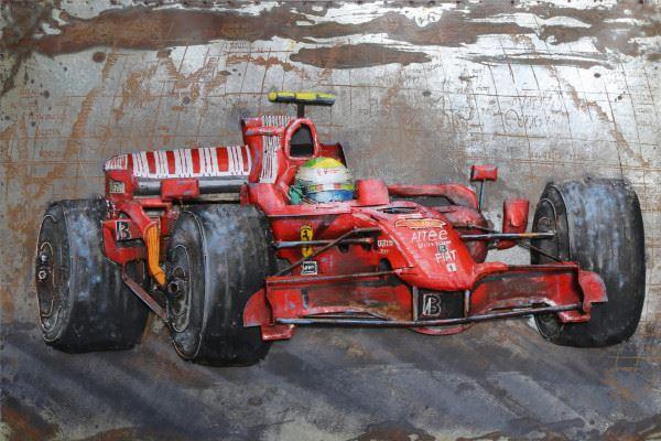 Handgefertigtes Metallbild Rennwagen ca. 120x80 cm