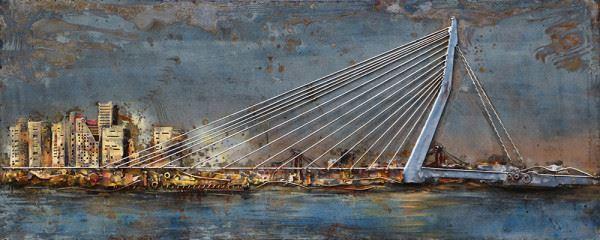 Handgefertigtes Metallbild Skyline ca. 150x60 cm