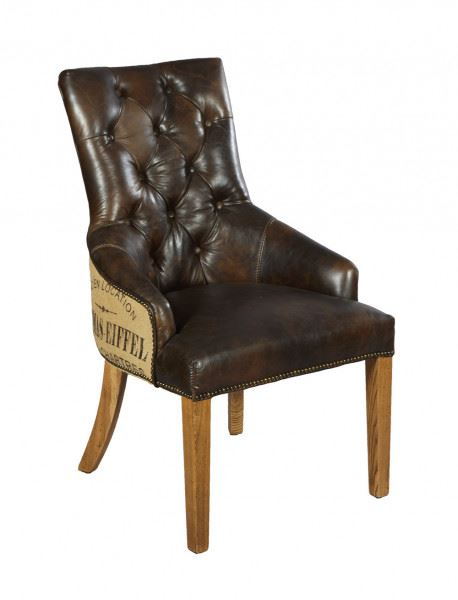 Stuhl Nelson Dark - Esszimmerstuhl Vintage-Leder mit Chesterfield-Look dunkelbraun