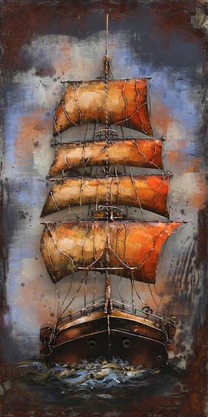 Handgefertigtes Metallbild Sailing ca. 70x140 cm