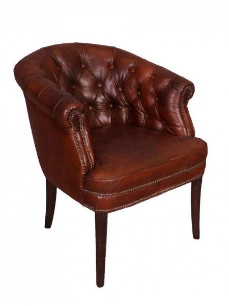 Clubsessel Swindon Vintage Leder Messingnieten Chesterfield-Muster