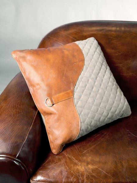 """Kissen """"Saddle"""" Columbia Brown aus Vintage Leder und Leinen"""