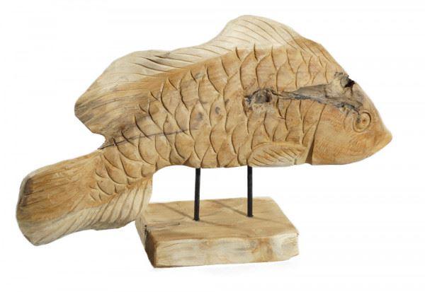 Fisch-Skulptur aus Teakholz