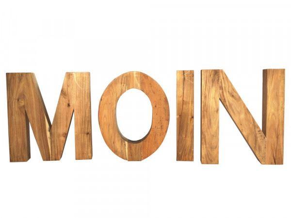 Buchstabensatz Moin klein Teakholz Natur massiv Holzbuchstabe