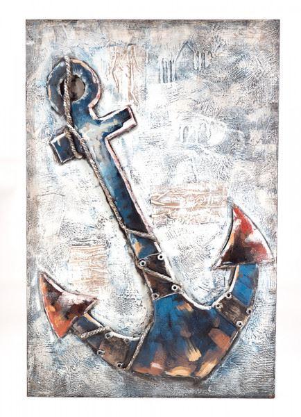 Handgefertigtes Metallbild Anker ca. 60x90 cm