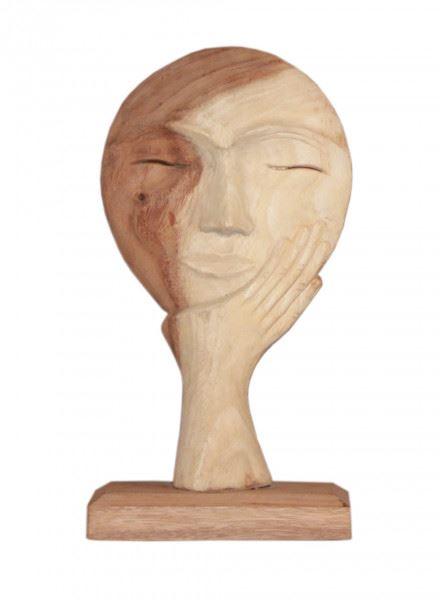 Wohndekoration Skulptur Maske getragen von einer Hand aus Teakholz S