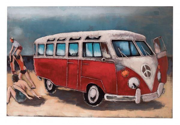 Handgefertigtes Metallbild Strandbus Rot ca. 120x80 cm