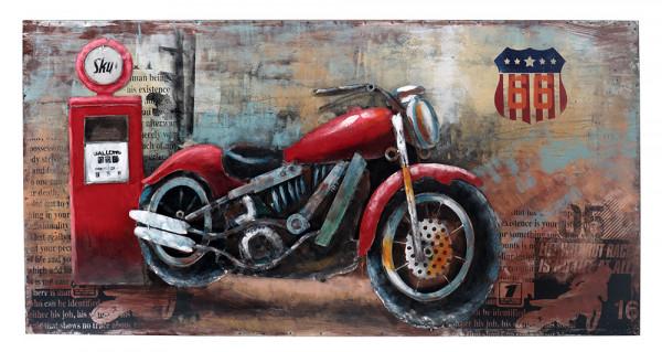 Handgefertigtes Metallbild Motorcycle Gas Station Red ca. 70x140 cm