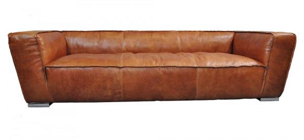 Clubsofa Longford 3-Sitzer Vintage-Leder Columbia-Brown Aluminium