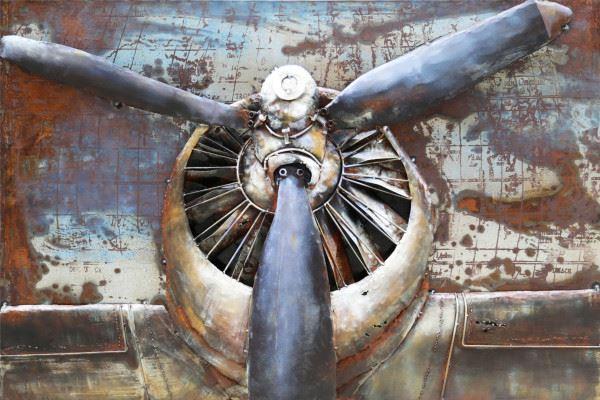 Handgefertigtes Metallbild Propeller ca. 110x70 cm