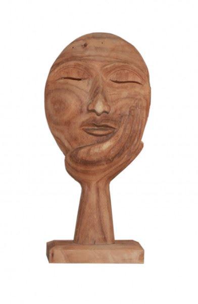 Wohndekoration Skulptur Maske getragen von einer Hand aus Teakholz M