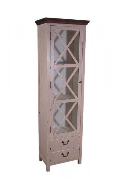 Vitrinenkommode Paris schmal Holz Vintage Look creme weiß