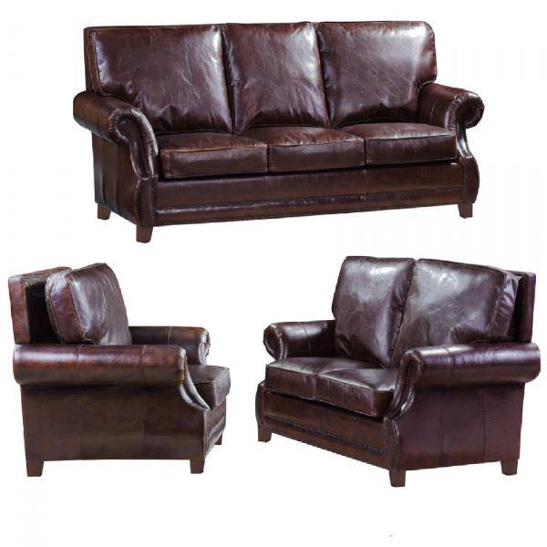 Ledergarnitur Wexford 3-Sitzer 2-Sitzer und Sessel 3+2+1