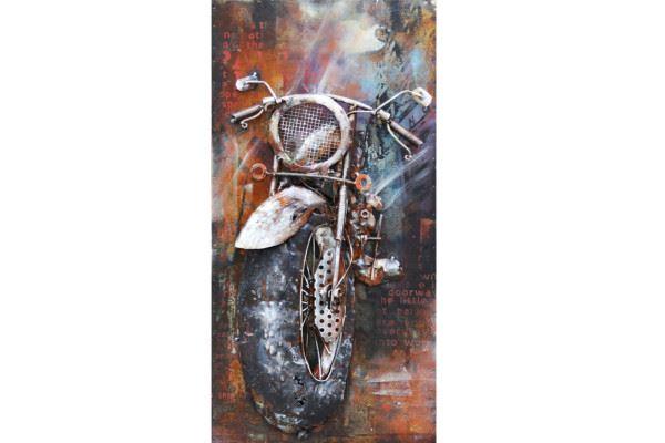 Handgefertigtes Metallbild Motorbike ca. 40x80 cm