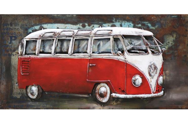 Handgefertigtes Metallbild Bus in rot ca. 80x40 cm