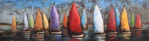 Handgefertigtes Metallbild bunte Segelboote ca. 180x50 cm