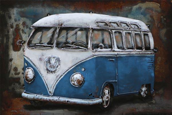 Handgefertigtes Metallbild Bus in Blau ca. 60x40 cm
