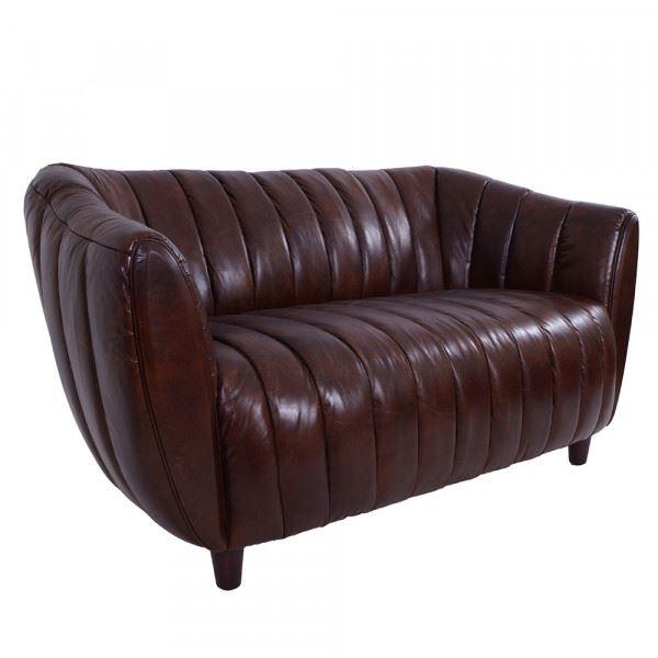 Clubsofa Juniper 2-Sitzer gerippt Vintage Leder