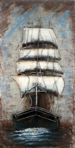 Handgefertigtes Metallbild Sailing II ca. 70x140 cm