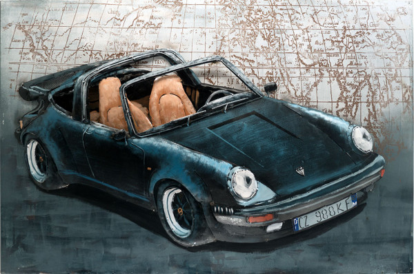 Handgefertigtes Metallbild Porsche 911 Black ca. 115x75 cm