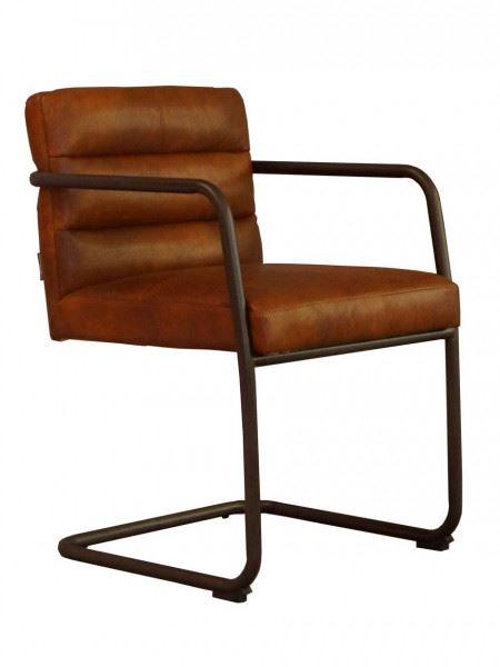 Freischwinger-Sessel Murray Vintage Leder Stahlrohr