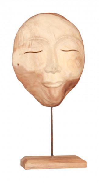 Wohndekoration Skulptur Maske aus Teakholz L