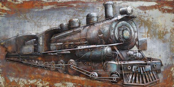 Handgefertigtes Metallbild Railroad ca. 140x70 cm