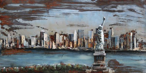 Handgefertigtes Metallbild NYC ca. 120x60 cm