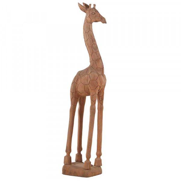 Wohndekoration Tierskulptur Giraffe aus Teakholz ca. 140 cm