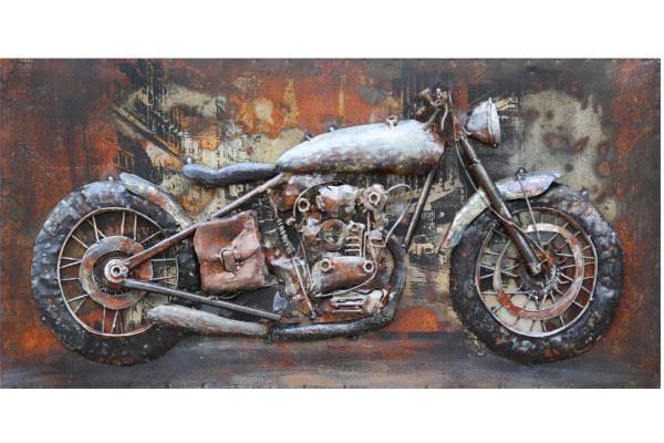 Handgefertigtes Metallbild Motorcycle ca. 140x70 cm