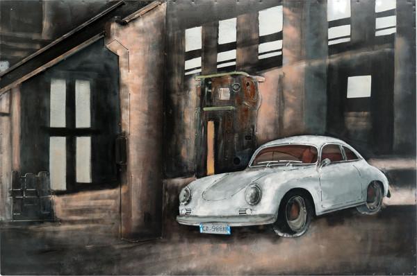 Handgefertigtes Metallbild Porsche front ca. 115x75 cm