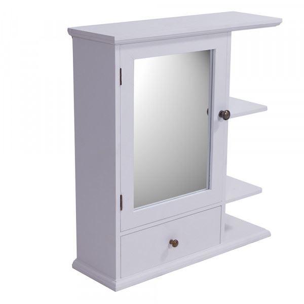 Regal Bismo mit Spiegel in weiß
