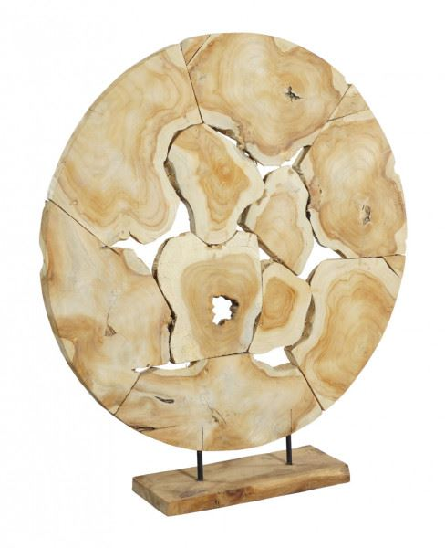 Teak-Skulptur große Scheibe, Halbprofil