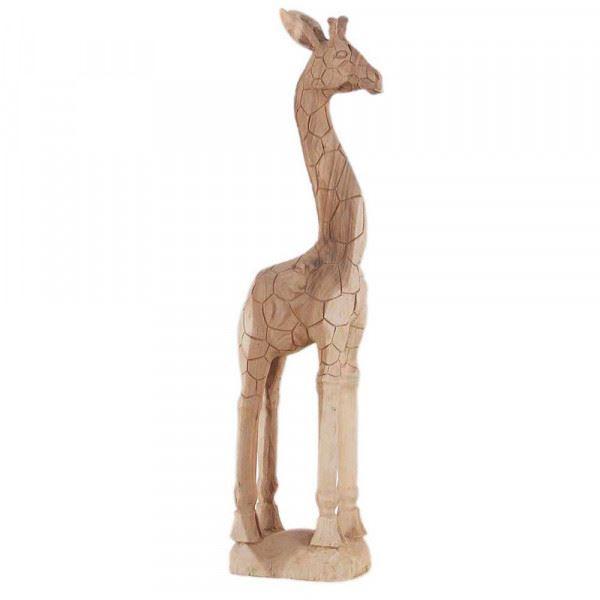 Wohndekoration Tierskulptur Giraffe aus Teakholz ca. 100 cm