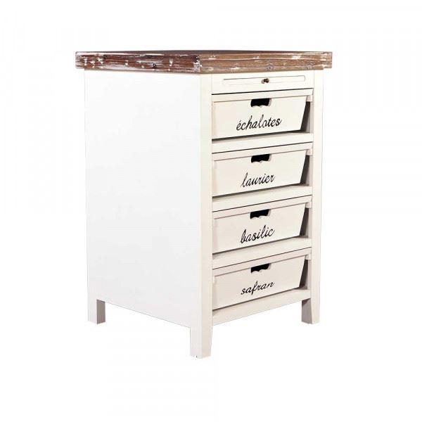 Küchenregal Dijon Holz 4 Schubladen beschriftet Vintage Look creme weiß