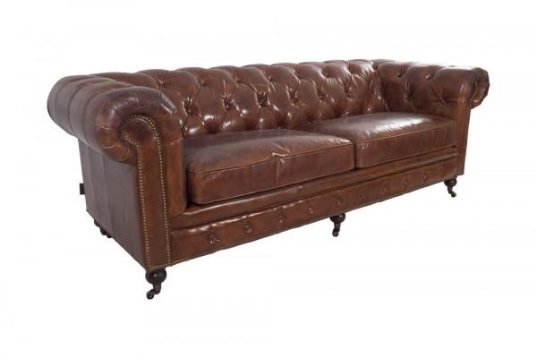 Chesterfield-Sofa 2-Sitzer Leder Vintage-Cigar