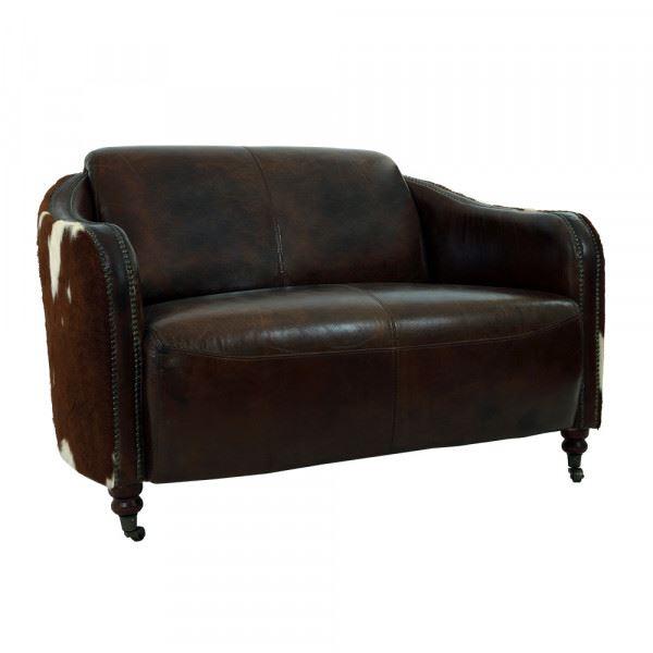 Clubsofa Flair 2-Sitzer Leder Vintage-Cigar Kuhfell braun-weiß