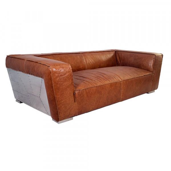 Clubsofa Longford 2,5-Sitzer Vintage-Leder Columbia-Brown Aluminium