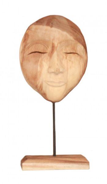 Wohndekoration Skulptur Maske aus Teakholz M
