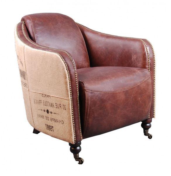 Der Clubsessel Winchester aus Vintage Leder und Jute - Halbprofil