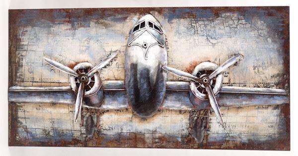 Handgefertigtes Metallbild Flugzeug ca. 120x60 cm