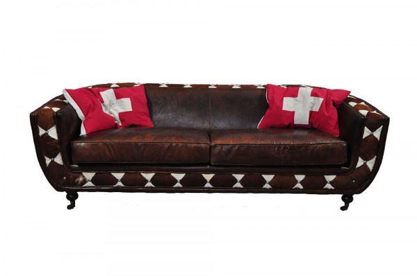 Clubsofa Banbury 3-Sitzer Leder Kuhfell Frontansicht mit Kissen