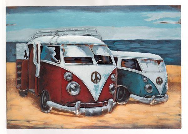 Handgefertigtes Metallbild Strandbus 2er Rot Blau ca. 120x80 cm