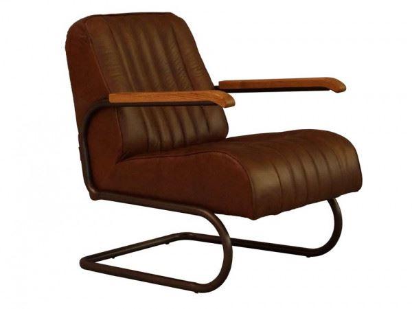 Lampeter Freischwinger-Sessel Vintage Leder Stahlrohr