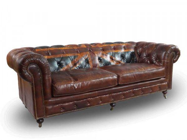 "Chesterfield Sofa ""Union Jack"" 3-Sitzer Halbprofil"