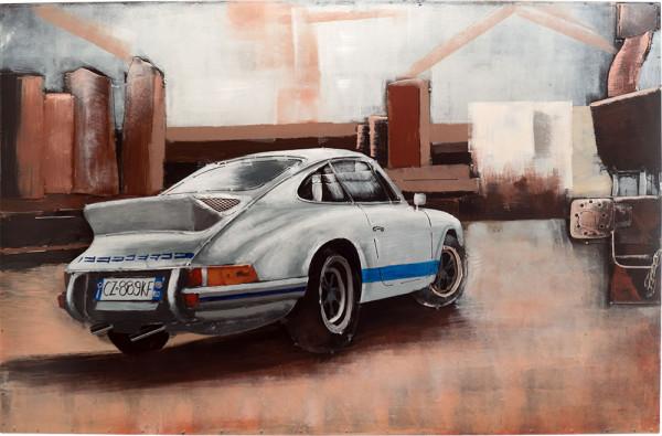 Handgefertigtes Metallbild Porsche 911 white ca. 115x75 cm